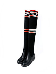 cheap -Women's Shoes PU Winter Fall Comfort Novelty Fashion Boots Boots Low Heel Pointed Toe Knee High Boots for Party & Evening Office & Career