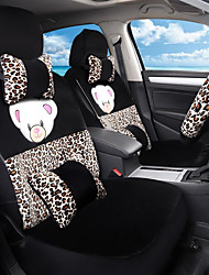 cheap -Cartoon Plush Car Seat Cushion Seat Cover Seat In Autumn And Winter Surrounded By A Five Seat-Leopard