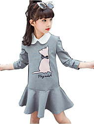 cheap -Girl's Daily Dress, Cotton Polyester Spring Fall Long Sleeves Cartoon Light gray