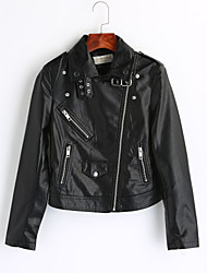 Women's Casual/Daily Vintage Winter Leather Jacket,Solid Peaked Lapel Long Sleeve Short PU
