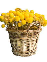 cheap -12 Heads/Branch Yellow Ball Artificial Flowers Home Decoration Wedding Supply
