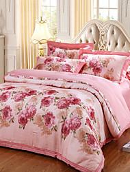 cheap -Duvet Cover Sets Floral 4 Piece Cotton Jacquard Cotton 1pc Duvet Cover 2pcs Shams 1pc Flat Sheet