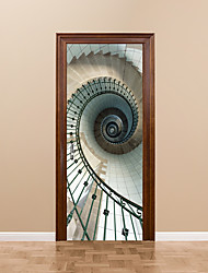 cheap -77*200cm 2pcs/Set Creative Spiral Staircase Door Stickers DIY Mural Bedroom Vinyl Whirling Stairs Door Stickers Poster Home Decor