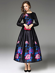 Maxlindy Women's Party Going out Casual/Daily Sexy Vintage Sophisticated A Line DressFloral Round Neck Midi Long Sleeves Polyester Fall Winter