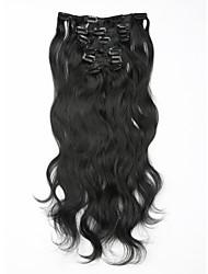 Недорогие -естественная волна non-remy 100% человеческих волос # 1b цвет естественный черный клип в наращивании волос 16 18 20 22 дюйма 100 г клипы в