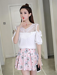 cheap -Women's Daily Casual Summer T-shirt Skirt Suits,Floral V Neck Short Sleeve Polyester