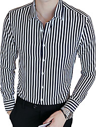 cheap -Men's Daily Work Casual Spring Fall Shirt,Striped Shirt Collar Long Sleeves Cotton Polyester Medium