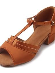 """cheap -Children's Latin Satin Sandal Heel Practice Buckle Chunky Heel Dark Brown 1"""" - 1 3/4"""" Customizable"""