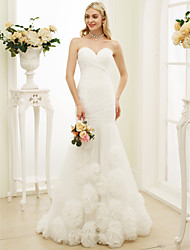 cheap -Mermaid / Trumpet Sweetheart Sweep / Brush Train Tulle Wedding Dress with Flower(s) Side-Draped by LAN TING BRIDE®