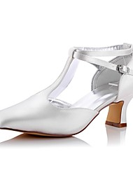 cheap -Women's Shoes Silk Spring Fall Comfort Wedding Shoes Chunky Heel Square Toe for Wedding Office & Career Party & Evening Dress Ivory