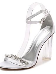 Недорогие -Жен. Обувь Сатин Весна / Лето Туфли лодочки / С ремешком на лодыжке / Прозрачный обуви Свадебная обувь На толстом каблуке / Прозрачный