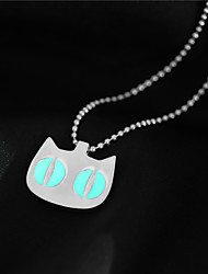 cheap -Women's Cat Adorable Fluorescent Luminous Illuminated Pendant Necklace Multi-stone Luminous Stone Alloy Pendant Necklace , Halloween Club
