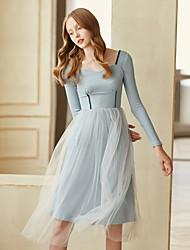 cheap -Women's Vintage Cute A Line Dress - Solid Colored, Mesh Square Neck