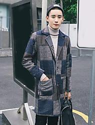 cheap -Men's Simple / Casual Long Coat Print / Long Sleeve