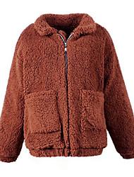 Feminino Casaco de Pêlo Casual Simples Outono Inverno,Sólido Padrão Lã Lapela Xale Manga Longa