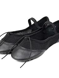 Women's Ballet Cowhide Split Sole Indoor Flat Black Customizable