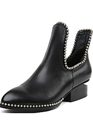 cheap -Women's Shoes Real Leather Winter Fashion Boots Bootie Boots Low Heel Round Toe Booties/Ankle Boots For Casual Dress Black