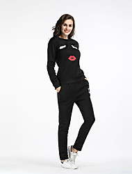 cheap -Women's Daily Sports Street chic Winter Fall Hoodie Pant Suits,Quotes & Sayings Round Neck Long Sleeve Polyester