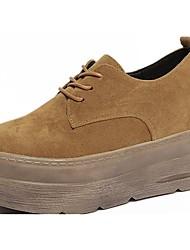preiswerte -Damen Schuhe Wildleder Herbst Komfort Outdoor Creepers Runde Zehe Schnürsenkel für Schwarz / Beige / Braun