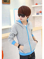 Men's Casual/Daily Hoodie Color Block Hooded Inelastic Others Long Sleeve Fall