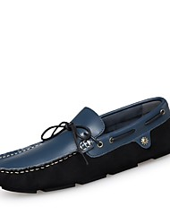 Men's Shoes Real Leather Cowhide Nappa Leather Spring Fall Moccasin Driving Shoes Comfort Boat Shoes For Casual Office & Career Blue Black