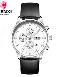 cheap -Men's Wrist Watch Chinese Calendar / date / day / Cool Leather Band Charm / Luxury / Casual Black