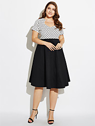 Women's Going out Plus Size Vintage Swing Dress,Polka Dot Sweetheart Knee-length Short Sleeves Cotton All Seasons Mid Rise Micro-elastic