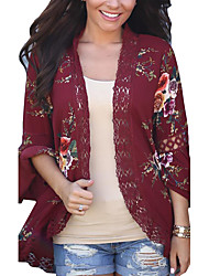 Women's Holiday Going out Vintage Boho Spring Fall Jacket,Color Block Cowl Long Sleeve Regular Polyester Lace Cut Out