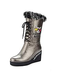 abordables -Mujer Zapatos PU Otoño Invierno Confort Botas de Moda Botas Tacón Cuña Dedo Puntiagudo Mitad de Gemelo Pluma Con Cordón Combinación Para