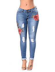 cheap -Women's Vintage Skinny Skinny Jeans Pants - Embroidered, Floral