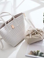 cheap -Women's Bags PU(Polyurethane) Tote Beading Milky White / Light Grey / Wine