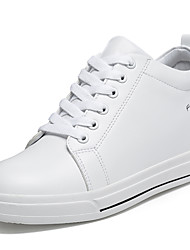 cheap -Women's Shoes Leatherette Spring / Fall Comfort Athletic Shoes Walking Shoes Platform Round Toe Lace-up White / Black