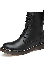 Men's Boots Fluff Lining Fashion Boots Fall Winter Real Leather Casual Work & Safety Zipper Low Heel Black Under 1in