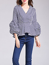 Women's Casual/Daily Sexy Spring Fall Shirt,Striped V Neck Long Sleeves Cotton Medium