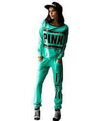 Felpa con cappuccio Pantalone Completi abbigliamento Da donna Sport Casual Moda città Autunno Inverno,Frasi e citazioni Rotonda Manica