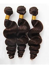 Недорогие -3 связки / 300 г 18-24inch средней длины бразильские виргинские человеческие волосы рыхлые волосы натуральные черные человеческие волосы