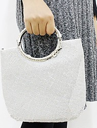 Women Bags All Seasons Polyester Evening Bag Crystal Detailing for Wedding Event/Party Gold Silver
