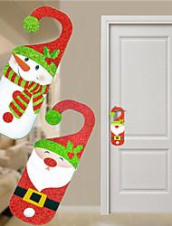 cheap -2pc Santa Claus Snowman Door Christmas Decoration Hanging Pendant For Home Decor Christmas Ornament Gift