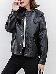 Women's Going out Club Street chic Chinoiserie Fall Winter Leather Jacket,Solid Stand Long Sleeve Regular PU Cotton