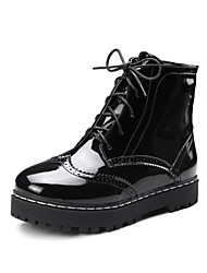 Women's Shoes PU Spring Fall Comfort Novelty Fashion Boots Combat Boots Boots Flat Heel Chunky Heel Round Toe Booties/Ankle Boots Lace-up