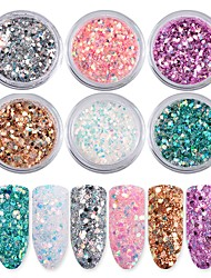 cheap -6 color Nail Art Iridescence Flash Powder Sequins 1g/box