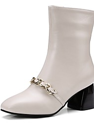 cheap -Women's Shoes Patent Leather Spring Fall Comfort Novelty Boots Block Heel Square Toe Mid-Calf Boots Zipper Chain For Wedding Dress Green