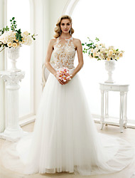 cheap -A-Line Princess Jewel Neck Chapel Train Lace Tulle Wedding Dress with Appliques Buttons by LAN TING BRIDE®