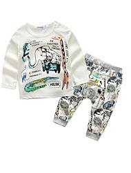 baratos -bebê Para Meninos Algodão Casual Animal Primavera/Outono Outono 100% Algodão Manga Longa Branco