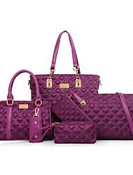 baratos -Mulher Bolsas Todas as Estações Fibra Sintética Conjuntos de saco Ziper para Casual Formal Azul Preto Rosa Roxo