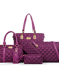 Women Bags All Seasons Nylon Bag Set Zipper for Casual Formal Blue Black Blushing Pink Purple