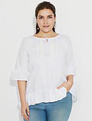 baratos -Mulheres Blusa Casual / Tamanhos Grandes Simples Verão,Sólido Branco / Preto Algodão Decote U Meia Manga Fina