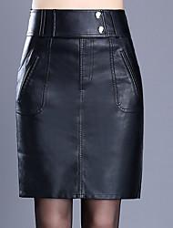 abordables -Femme Grandes Tailles Moulante Jupes - Couleur Pleine