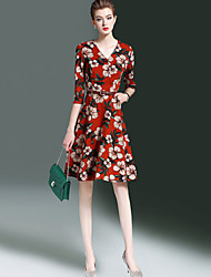 Women's Going out Casual/Daily Street chic Sheath Dress,Floral V Neck Knee-length 3/4 Length Sleeves Polyester Fall Winter Mid Rise