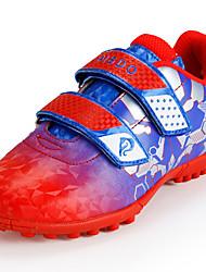 Para Meninos sapatos Couro Ecológico Primavera Outono Conforto Solados com Luzes Tênis Futebol Velcro Para Atlético Prata Vermelho Verde